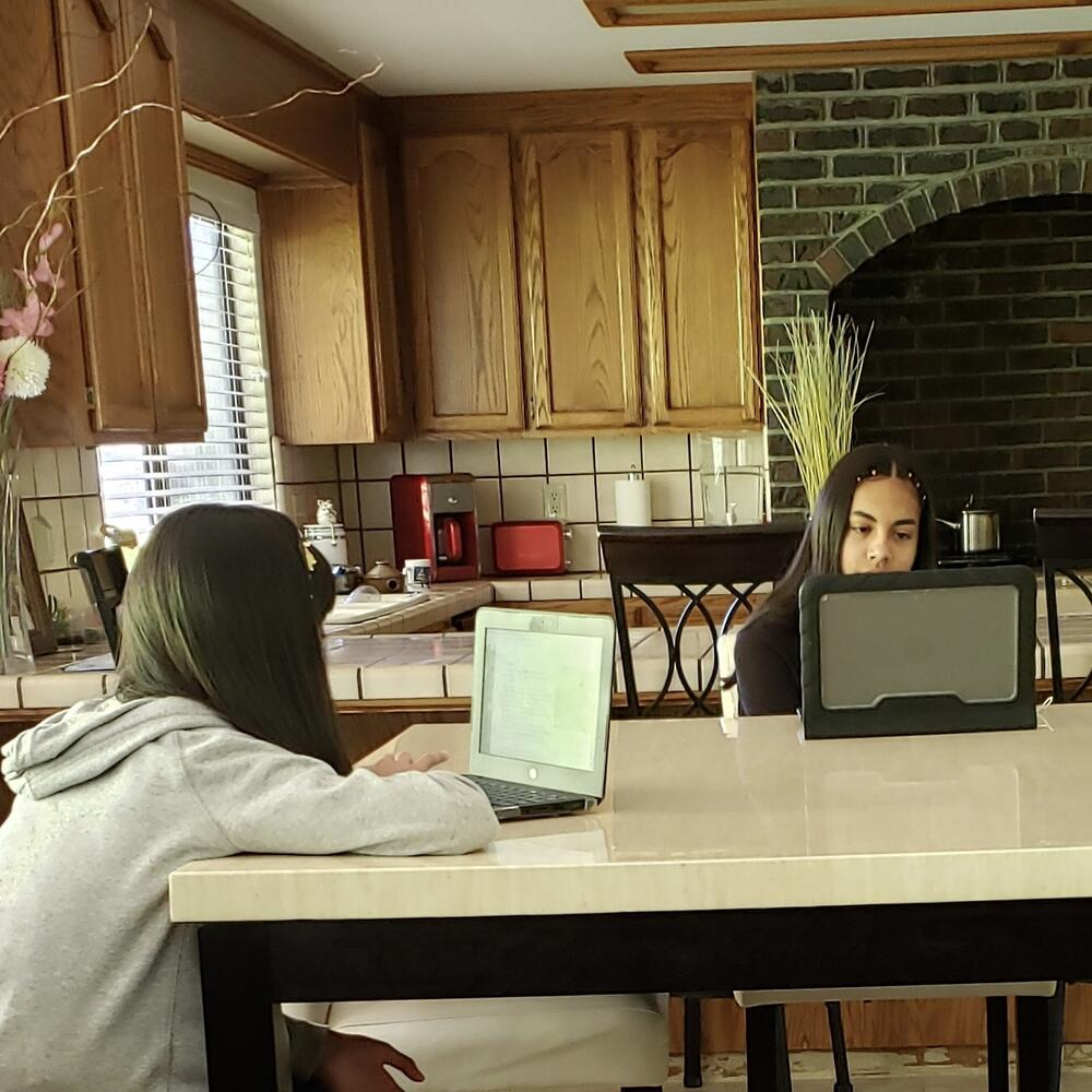students using chromebooks at home